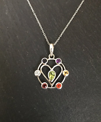 Chakra and Silver Heart Pendant