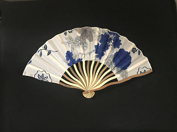 White and Blue Handheld Fan