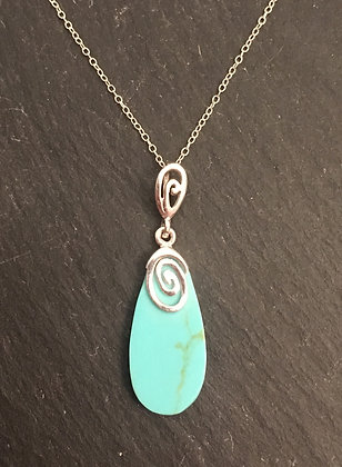 Turquoise and Silver Swirl Pendant