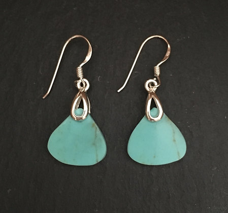 Turquoise and Silver Triangle Drop Earrings
