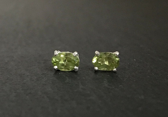 Peridot Oval Stud Earrings