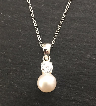 Freshwater Pearl and Cubic Zirconia Pendant