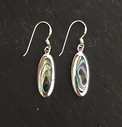 Paua Shell Long Oval and Silver Earrings