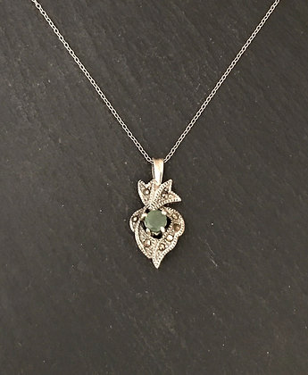 Emerald and Marcasite Pendant