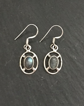 Labradorite and Silver Oval Drop Earrings