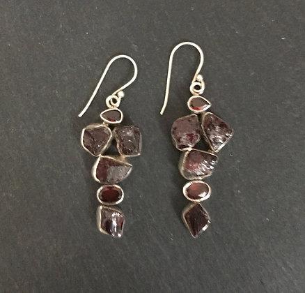 Rough Garnet and Silver Earrings
