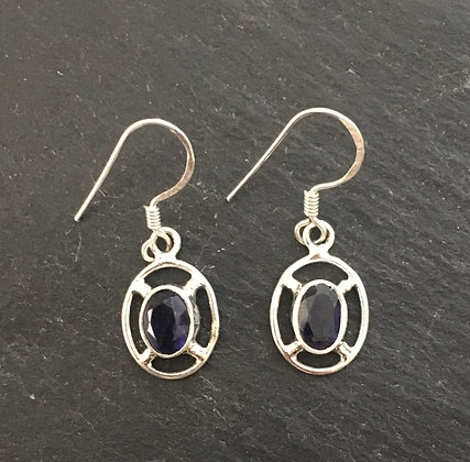 Iolite and Silver Oval Earrings