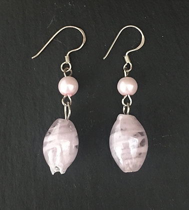 Pale Pink Bead Earrings