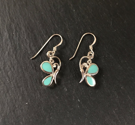 Butterfly Turquoise and Silver Earrings