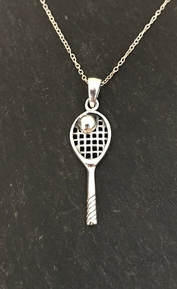 Silver Racket and Ball Pendant