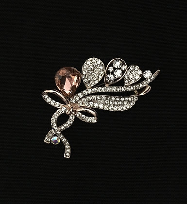 Pink Bling Flower Brooch