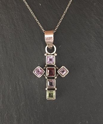 Amethyst, Garnet and Peridot Cross