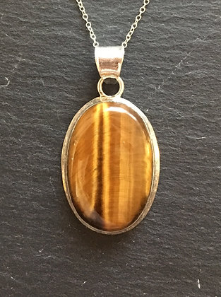 Tiger's Eye and Silver Oval Pendant