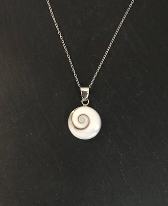 Shiva Shell and Silver Round Pendant