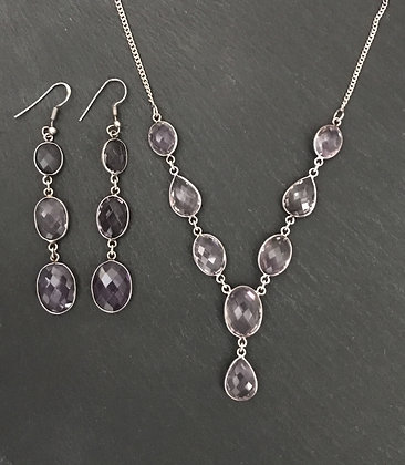 Amethyst and Silver Drop Set