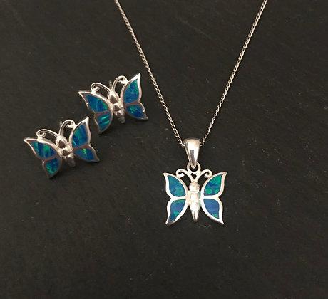 Synthetic Opal Butterfly Set