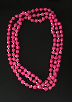Pink and Gold Bead Necklace