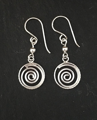 Silver Swirl Drop Earrings