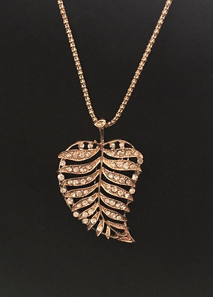 Gold and Bling Leaf Necklace