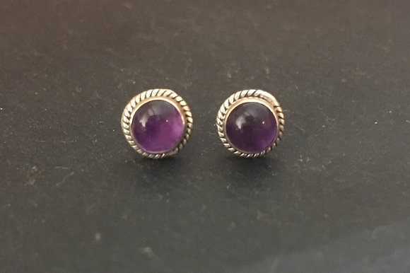 Amethyst Round Stud Earrings