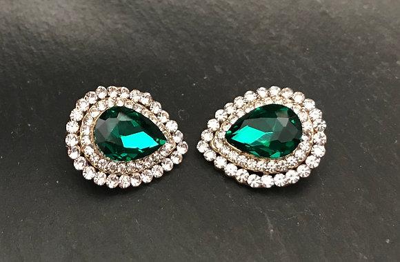 Green Teardrop Clip On Earrings