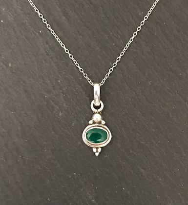 Emerald and Silver Pendant