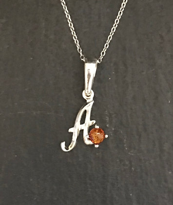 Letter A Amber Pendant