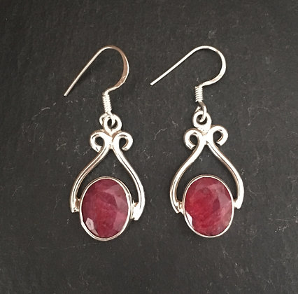 Ruby and Silver Drop Earrings