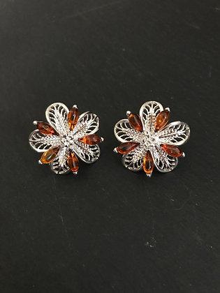 Amber Flower Stud Earrings