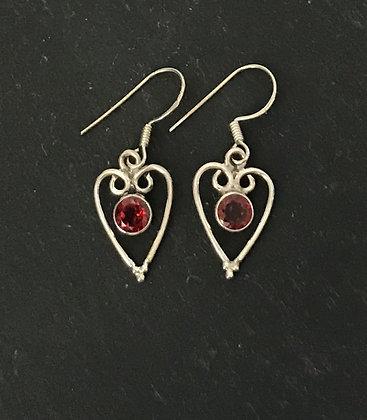 Garnet and Silver Heart Earrings