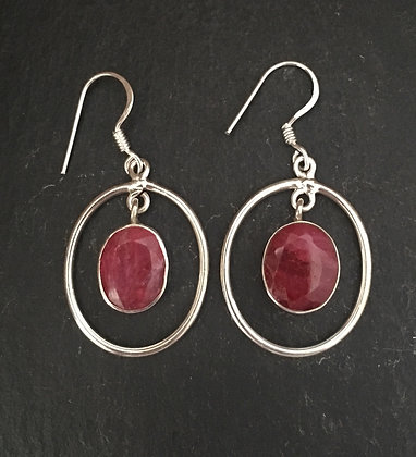 Oval Ruby and Silver Drop Earrings