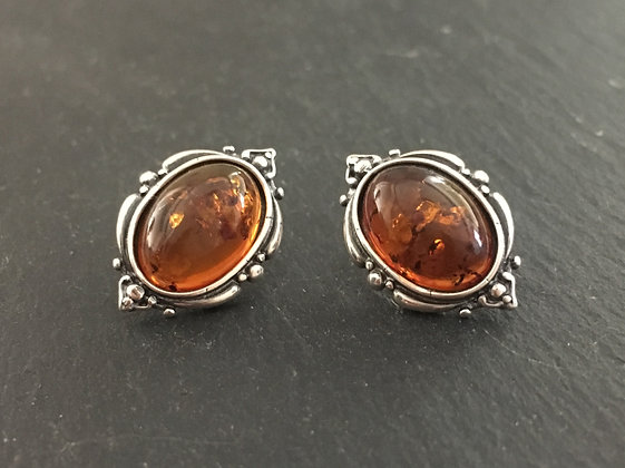 Amber Oval Stud Earrings