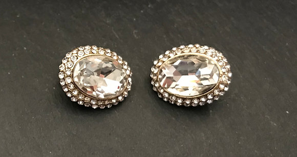 Bling Oval Clip On Earrings