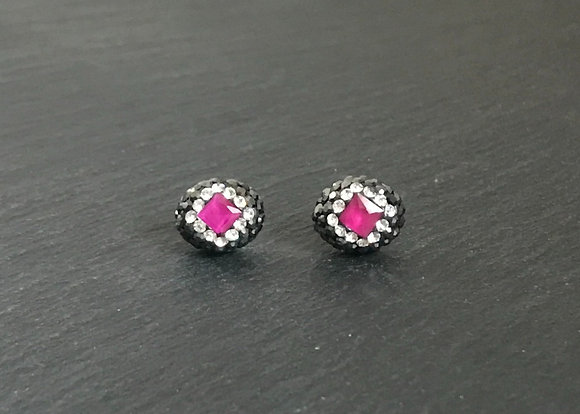 Ruby and Crystal Oval Stud Earrings