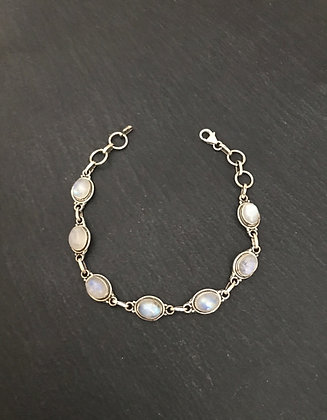 Oval Moonstone and Silver Bracelet