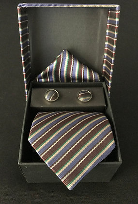 Blue and Brown Stripe Tie Set