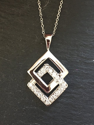 Two Square Cubic Zirconia and Silver Pendant