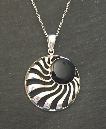 Black Onyx and Silver Pendant