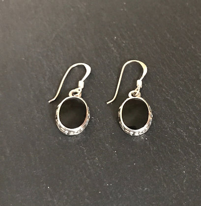 Black Onyx and Silver Oval Drop Earrings