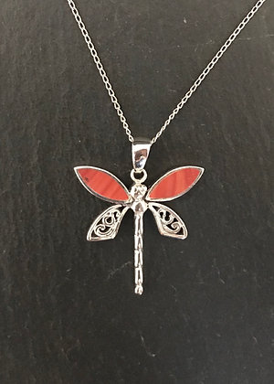 Coral Dragonfly Pendant
