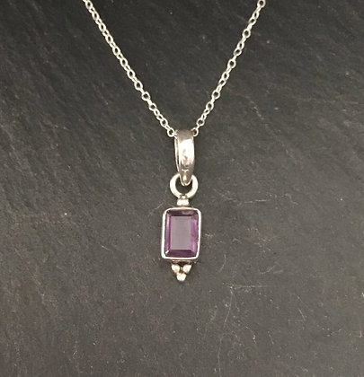 Amethyst and Silver Rectangle Pendant