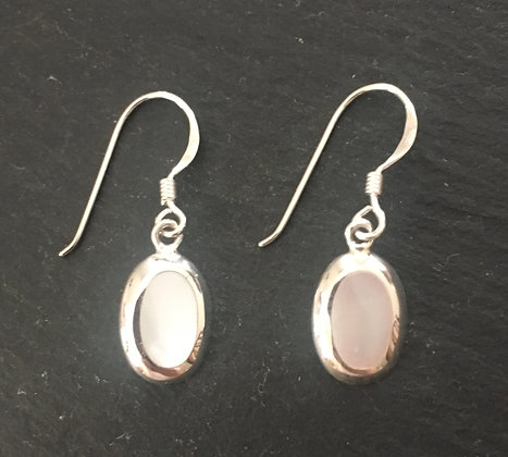 Mother of Pearl and Silver Oval Earrings