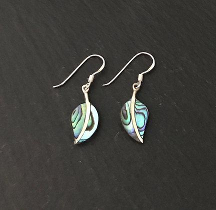 Paua Shell Leaf Earrings