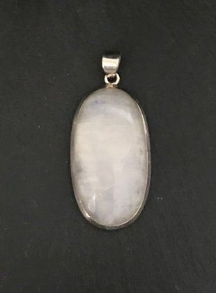 Moonstone and Silver Oval Pendant