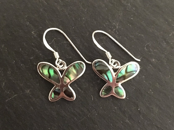 Paua Shell and Silver Butterfly Earrings