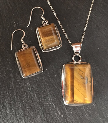 Tiger's Eye and Silver Rectangle Set