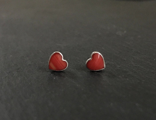 Heart Coral Stud Earrings