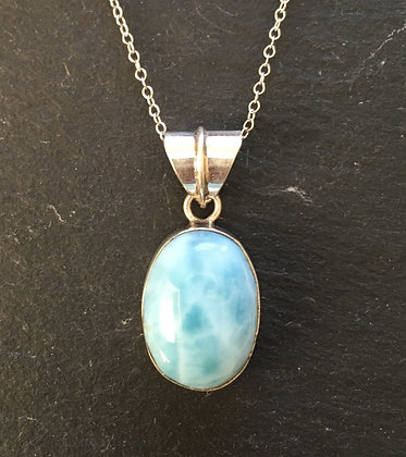 Larimar and Silver Oval Pendant