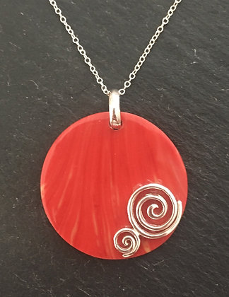 Coral and Silver Round Pendant