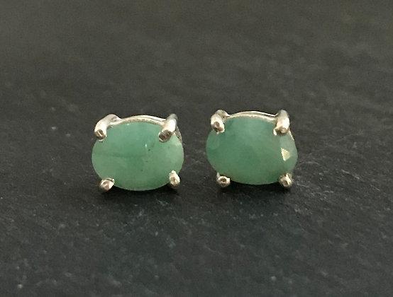 Large Oval Emerald Stud Earrings